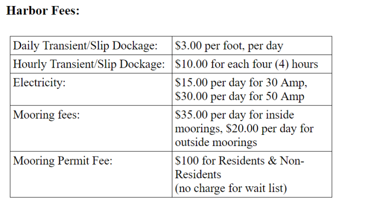 Menemsha Harbor Fees